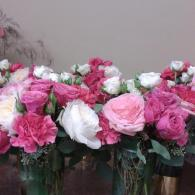 Pink Centerpieces with Gold Vase Bottoms